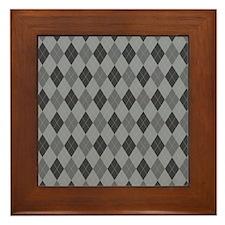 Gray Argyle Framed Tile