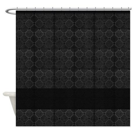 black tiled shower curtain by zazzlingshowercurtains