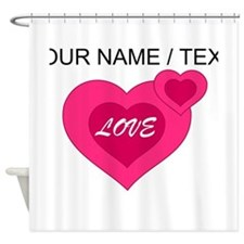 Custom Pink Love Hearts Shower Curtain