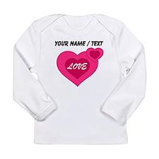 Custom Pink Love Hearts Long Sleeve T-Shirt