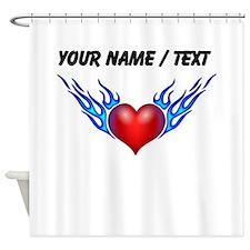 Custom Blue Flames Heart Shower Curtain