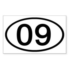 Number 09 Oval Rectangle Decal