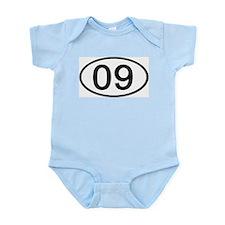 Number 09 Oval Infant Bodysuit