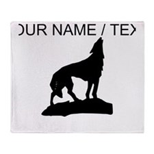 Custom Howling Wolf Silhouette Throw Blanket