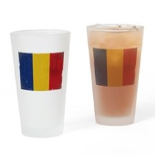 antiqued Romanian flag Drinking Glass