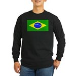 Brazil Blank Flag Long Sleeve Black T-Shirt