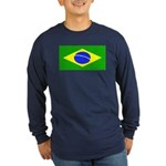 Brazil Blank Flag Long Sleeve Blue T-Shirt