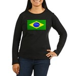 Brazil Blank Flag Womens Long Sleeve Black T-Shirt