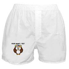 Custom Flower Crown Owl Boxer Shorts