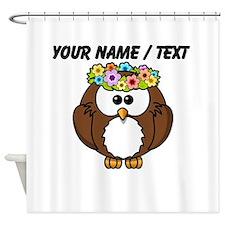 Custom Flower Crown Owl Shower Curtain