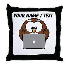 Custom Computer Nerd Owl Throw Pillow
