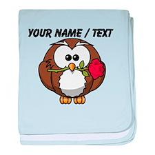 Custom Owl With Rose baby blanket