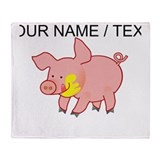 Custom Cartoon Pig Throw Blanket