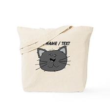 Custom Grey Cat Face Tote Bag