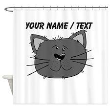 Custom Grey Cat Face Shower Curtain