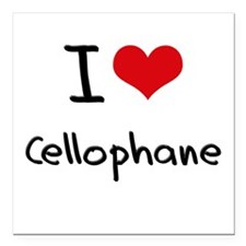"I love Cellophane Square Car Magnet 3"" x 3"""