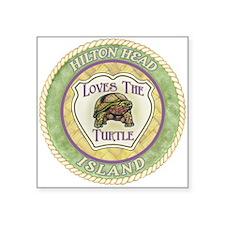 """Hilton Head Turtle Square Sticker 3"""" x 3&quot"""