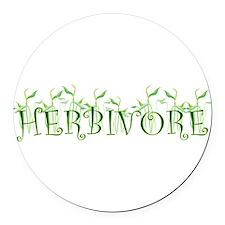 Cute Herbivore Round Car Magnet