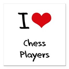 "I love Chess Players Square Car Magnet 3"" x 3"""