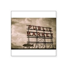 Pike Place Market Neon Sign With Clouds Sticker