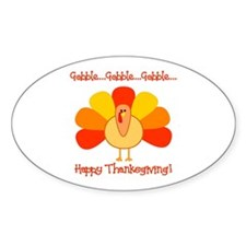 Happy Thanksgiving, Turkey Oval Decal