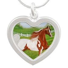 Chestnut Saddlebred Silver Heart Necklace