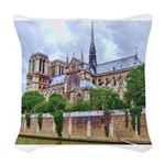 paris notra dam B.jpg Woven Throw Pillow