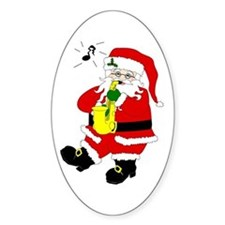 Santa Plays Sax Christmas Oval Decal
