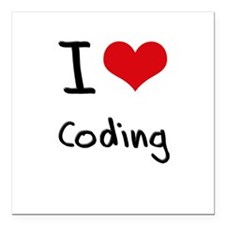 "I love Coding Square Car Magnet 3"" x 3"""