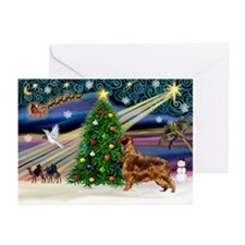 XmasMagic/Irish Setter Greeting Cards (Pk of 10)