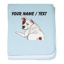 Custom Cute Bulldog baby blanket