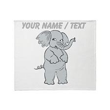 Custom Cartoon Elephant Throw Blanket