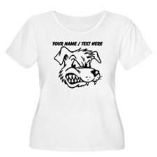 Custom Mean Dog Mascot Plus Size T-Shirt