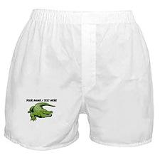 Custom Green Alligator Cartoon Boxer Shorts