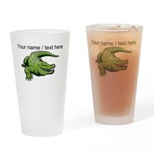 Custom Green Alligator Cartoon Drinking Glass