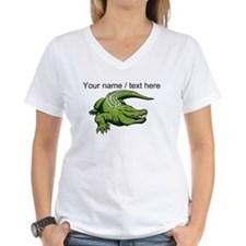 Custom Green Alligator Cartoon T-Shirt