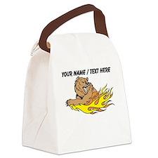 Custom Fire Bear Canvas Lunch Bag