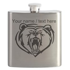 Custom Angry Bear Face Flask