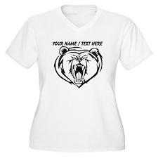 Custom Angry Bear Face Plus Size T-Shirt