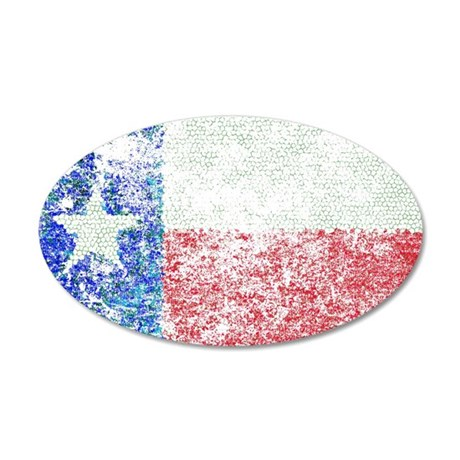 Vintage Texas Flag 20x12 Oval Wall Decal