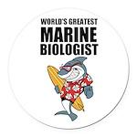 Worlds Greatest Marine Biologist Round Car Magnet