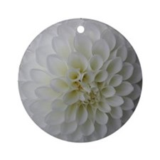 White Dahlia Ornament (Round)