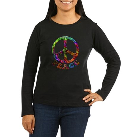 Jewelled Peace Symbol Women's Long Sleeve Dark T-S