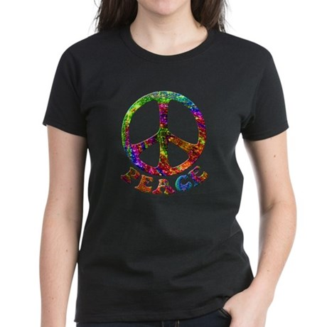 Jewelled Peace Symbol Women's Dark T-Shirt