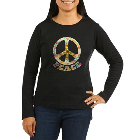 Painted Peace Symbol Women's Long Sleeve Dark T-Sh