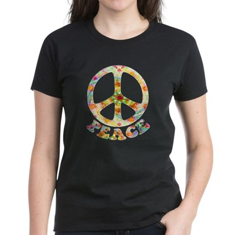 Painted Peace Symbol Women's Dark T-Shirt
