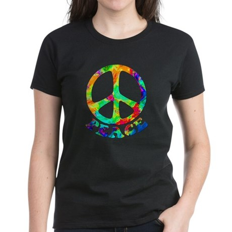 Rainbow Pool Peace Symbol Women's Dark T-Shirt