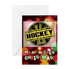 #1 Hockey Dad, Black Gold Christmas Greeting Cards
