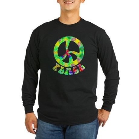 Flower Child Peace Long Sleeve Dark T-Shirt