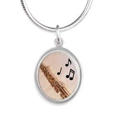 Flute Notes Silver Oval Necklace